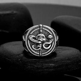 Skull Snake Geometry Ring