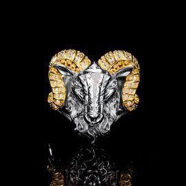 Iced Big Horn Goat Head Ring