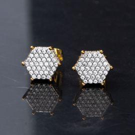 Hexagon Micro Pave Studs Earrings