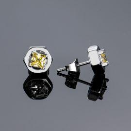 Iced Hexagon nut Studs Earrings