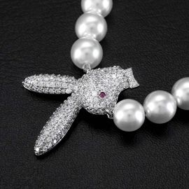 Iced Upside Down Bunny Pearl Necklace