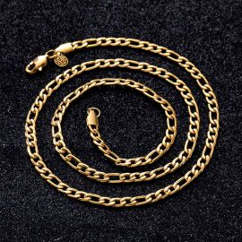 4mm Figaro Chain in Gold
