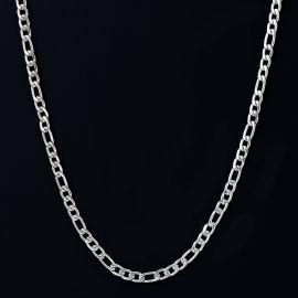 4mm Figaro Chain in White Gold