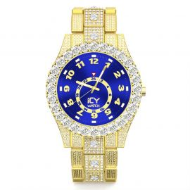 Iced Arabic Numerals Blue Dial Men's Watch in Gold