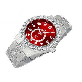 Iced Arabic Numerals Red Dial Men's Watch in White Gold