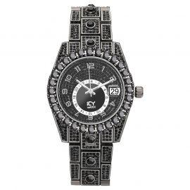 Iced Round Cut Arabic Numerals Men's Watch in Black Gold