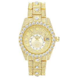 Iced Round Cut Arabic Numerals Men's Watch in Gold