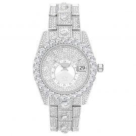 Iced Round Cut Arabic Numerals Men's Watch in White Gold
