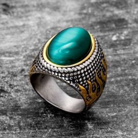 Vintage Green Agate Stainless Steel Ring