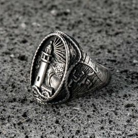 Lighthouse Hourglass Stainless Steel  Marine Ring