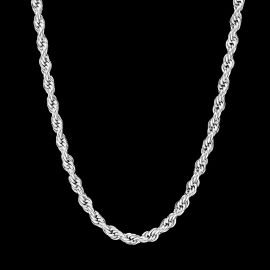 6mm 18K White Gold Rope Chain