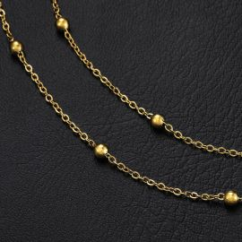 3mm Interval Beads Chain in Gold