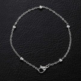 3mm Interval Beads Bracelet in White Gold
