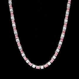 5mm Pink Baguette cut Stone Tennis Chain in White Gold