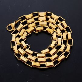 5mm Rectangle Link Chain in Gold