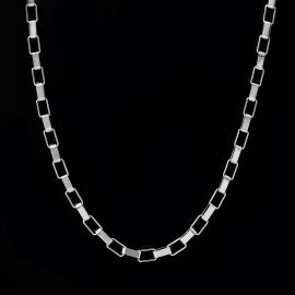 5mm Rectangle Link Chain in White Gold