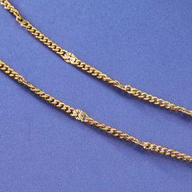 3mm Sunburst Cuban Chain in Gold