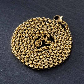 3mm Round Cable Chain in Gold