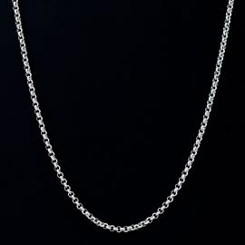 3mm Round Cable Chain in White Gold