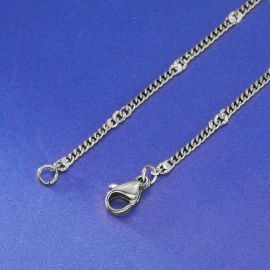 3mm Sunburst Cuban Chain in White Gold