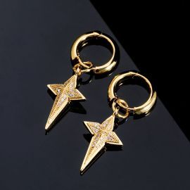 Iced Four-pointed Star Dangle Earrings