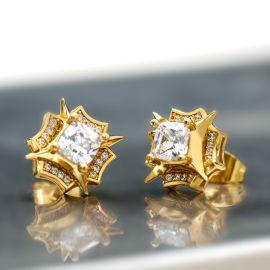 Princess Cut North Star Stud Earrings in Gold