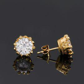 Crown Round Cut Stud Earrings
