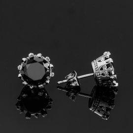 Crown Black Round Cut Stone Stud Earrings