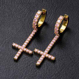 Iced Inverted Cross Earrings