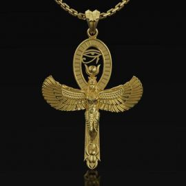 Isis Goddess with Eye of Horus Ankh Pendant
