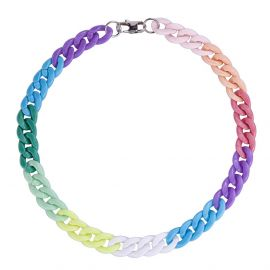 17mm Rainbow Acrylic Cuban Necklace