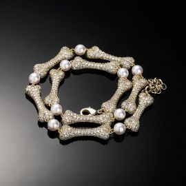 Mircro Paved Bone Interlaced Pearl Necklace