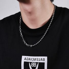 Interval Beads with Cable Chain Steel Necklace