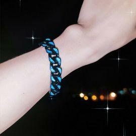 Titanium Steel Print Moon Black Cuban Bracelet