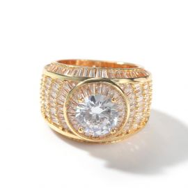 Baguette and Round Diamond Ring in Gold