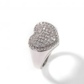 Micro Paved Heart-shaped Halo Ring in White Gold