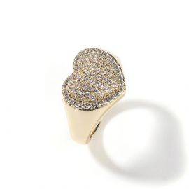 Micro Paved Heart-shaped Halo Ring in Gold