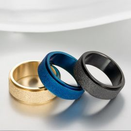 Men's Frosted Steel Simple Band in Black Gold
