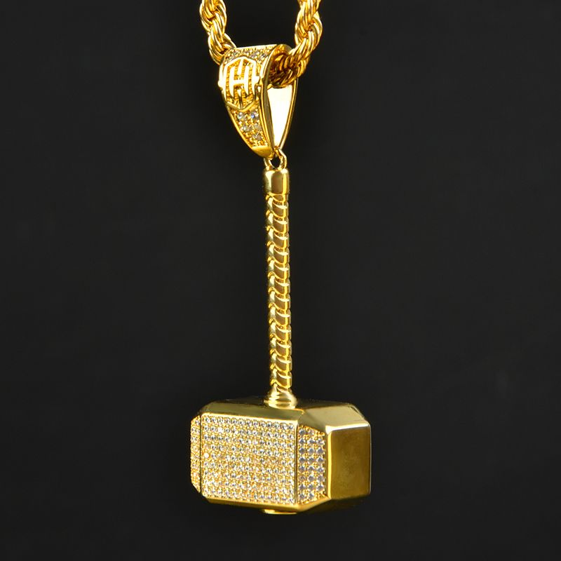 Iced Hammer Pendant in Gold