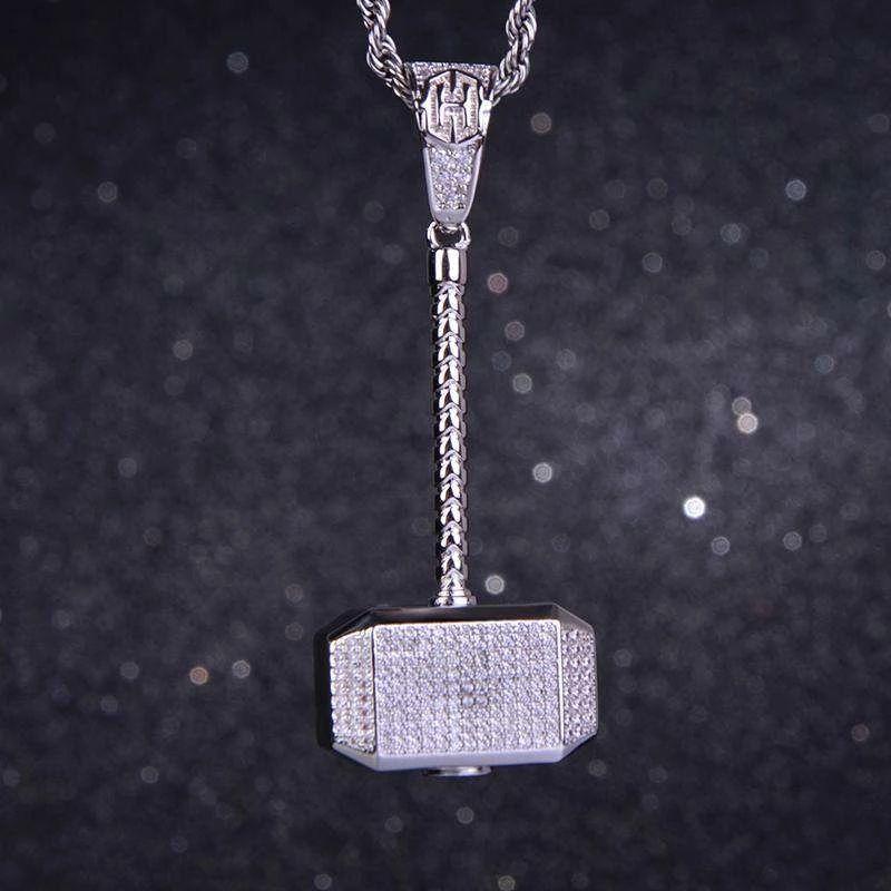 Iced hammer Pendant in White Gold
