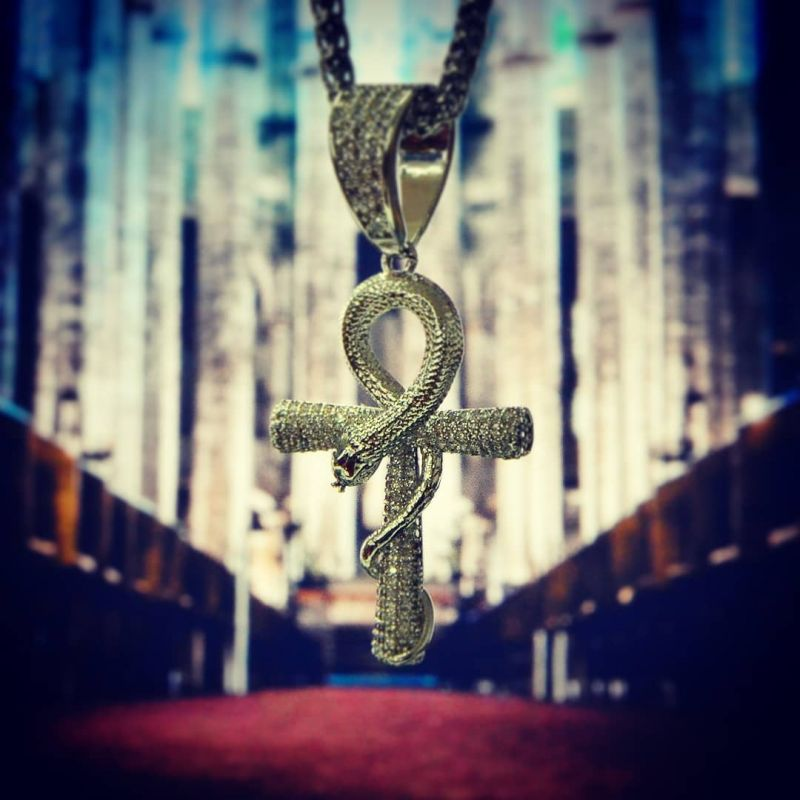 Iced Ankh Ouroboros Cross in White Gold