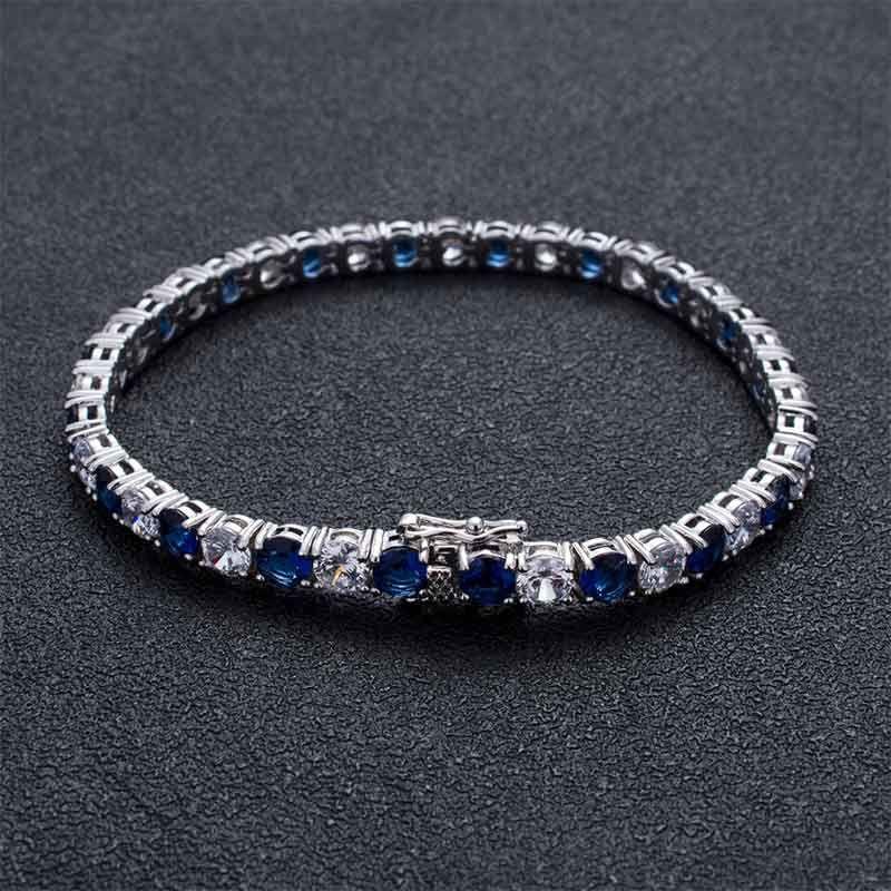 5mm White & Blue Iced Single Row Tennis Bracelet in White Gold