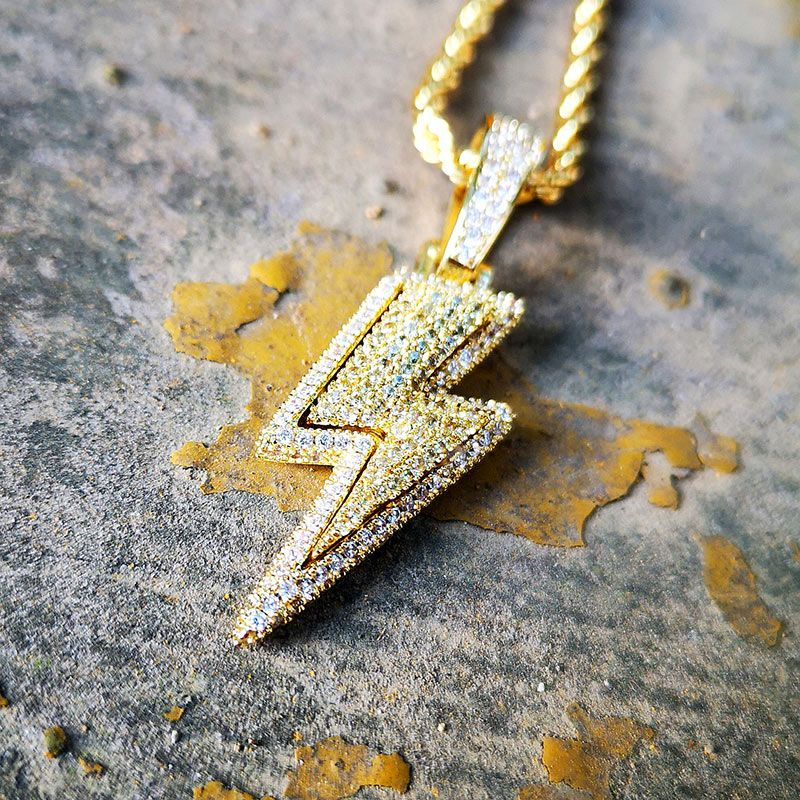 Iced Flash Pendant in Gold