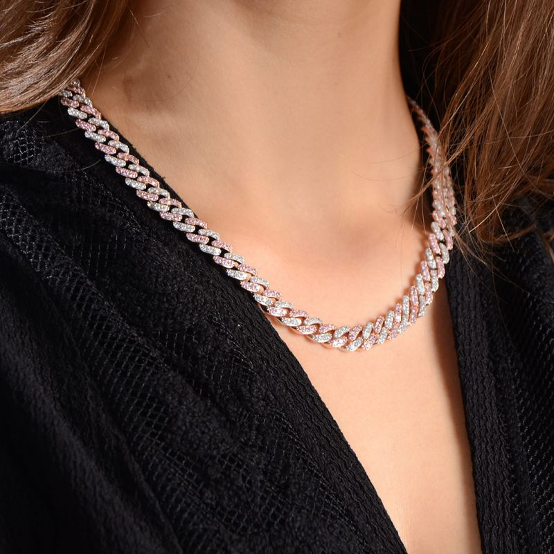 Women's 8mm Iced Pink&White Two-tone Cuban Link Chain