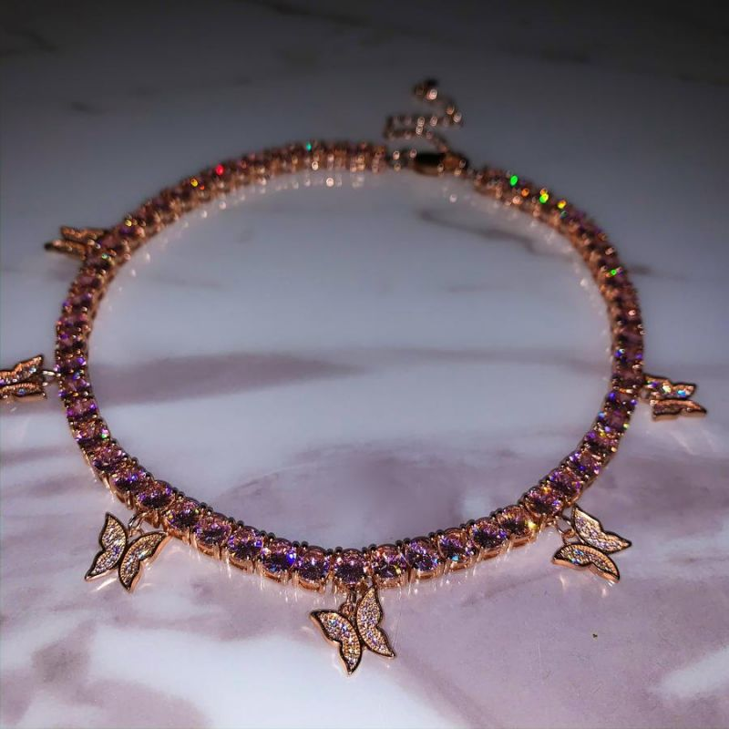 Women's Pink Butterfly Tennis Chain in Rose Gold