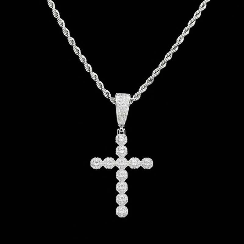 Iced Round Cut Diamonds Cross Pendant in White Gold