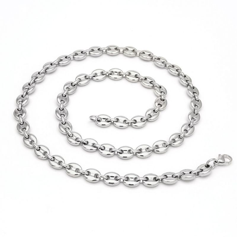 """7mm 22"""" Coffee Bean Chain in Stainless Steel"""