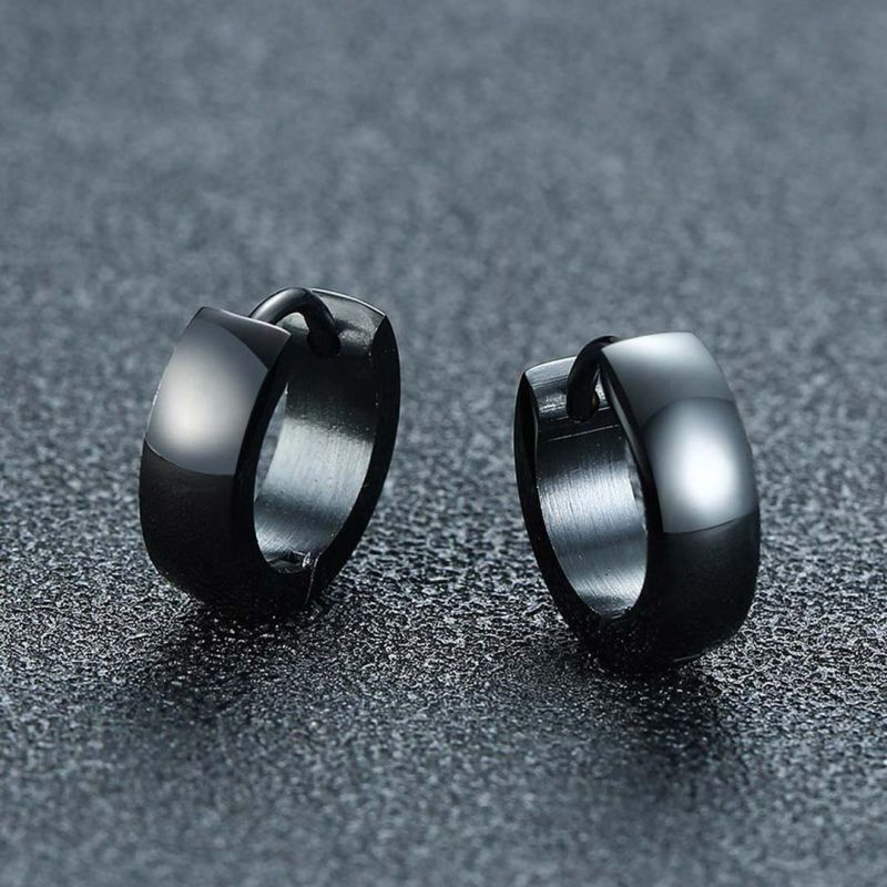 Stainless Steel Hoop Earrings in Black Gold