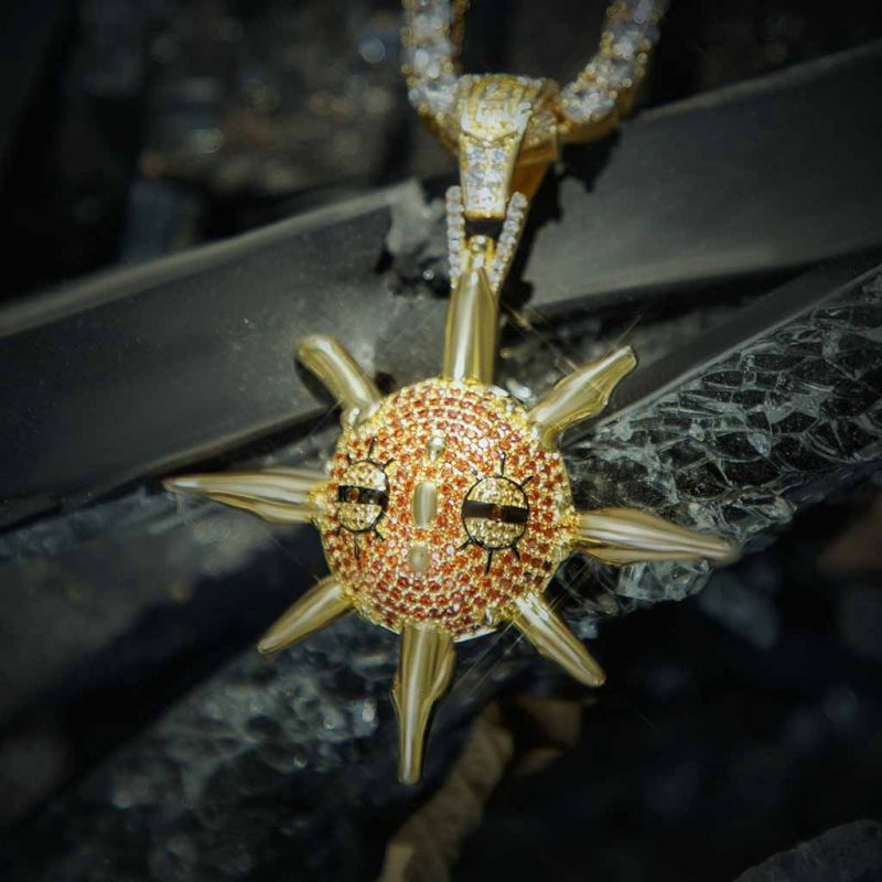 Iced Moving Meteorite Sprites Pendant in Gold