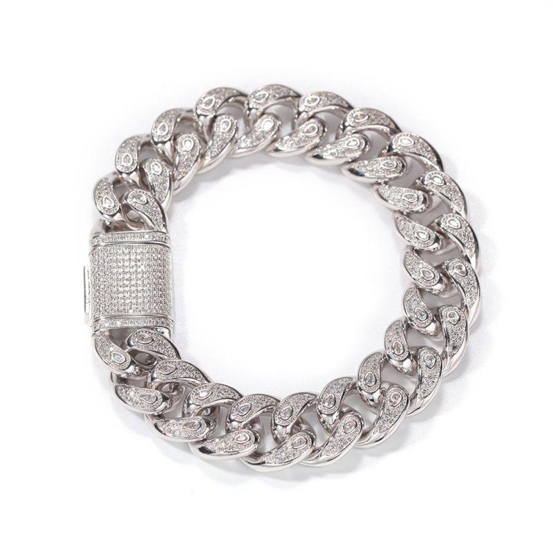 Unique 15mm Drip-shaped Stones Cuban Bracelet in White Gold